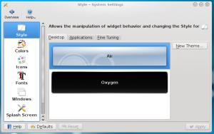 New system settings/style desktop theme configuration tab